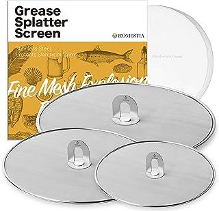 Homestia Grease Splatter Screen for Frying Pan with Fold Flat Knob Fine Mesh Oil Splash..
