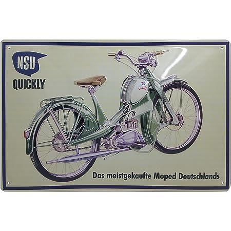 Nsu Quickly Kult Klassiker Moped Hochwertig Geprägtes Retro Werbeschild Blechschild Türschild Wandschild 30 X 20 Cm Küche Haushalt