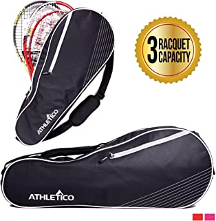Athletico 3 Racquet Tennis Bag | Padded to Protect Rackets & Lightweight | Professional or Beginner Tennis Players | Unisex Design for Men, Women, Youth and Adults