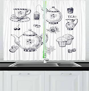 Ambesonne Blue and White Kitchen Curtains, Hand Drawn Teapots and Cups Muffins and Bags Vintage English Tradition, Window ...