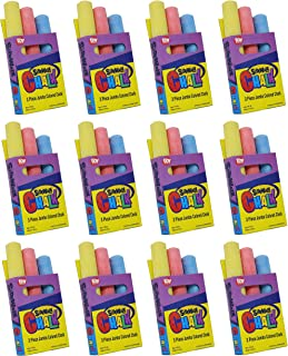 SN Incorp. Chalk Party Favors of 12 Boxes Chalk with 3 Sticks Per Pack in Total 36 Colored Chalk Bulk for Party, Goody Bags, Prizes, and Arts & Crafts