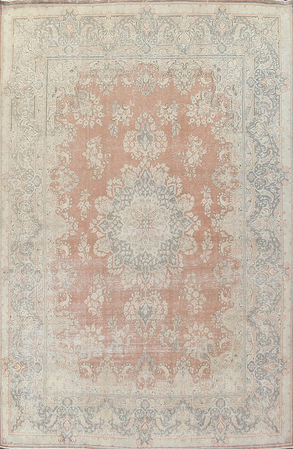 Distressed Year-end gift Floral Kirman Oriental Area Hand-Knotted Wool Rug Jacksonville Mall Car