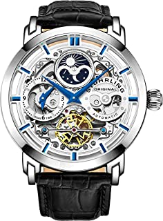 Mens Automatic-Self-Wind Luxury Dress Skeleton Dual Time Gold-Tone Wrist-Watch 22 Jewels 47 mm Stainless Steel Case