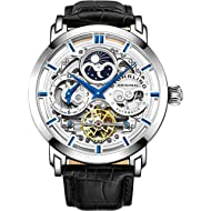 Stuhrling Original Mens Automatic-Self-Wind Luxury Dress Skeleton Dual Time Gold-Tone Wrist-Watch...