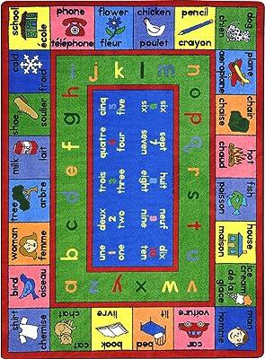 "Joy Carpets Kid Essentials Language & Literacy French LenguaLink Rug, Multicolored, 7'8"" x 10'9"""