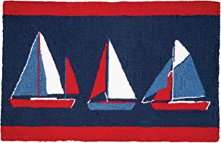 C&F Home Sail Boats Nautical Coastal Tropical Sea Life Blue Red Vacation Handcrafted Premium Hooked Indoor Area Rug 22x34 Rug Red