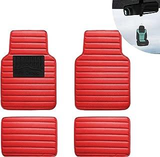 FH Group F12001 Luxury Universal All-Season Heavy Duty Faux Leather Car Floor Mats Stripe Design w. High Tech 3-D Anti-Skid/Slip Backing