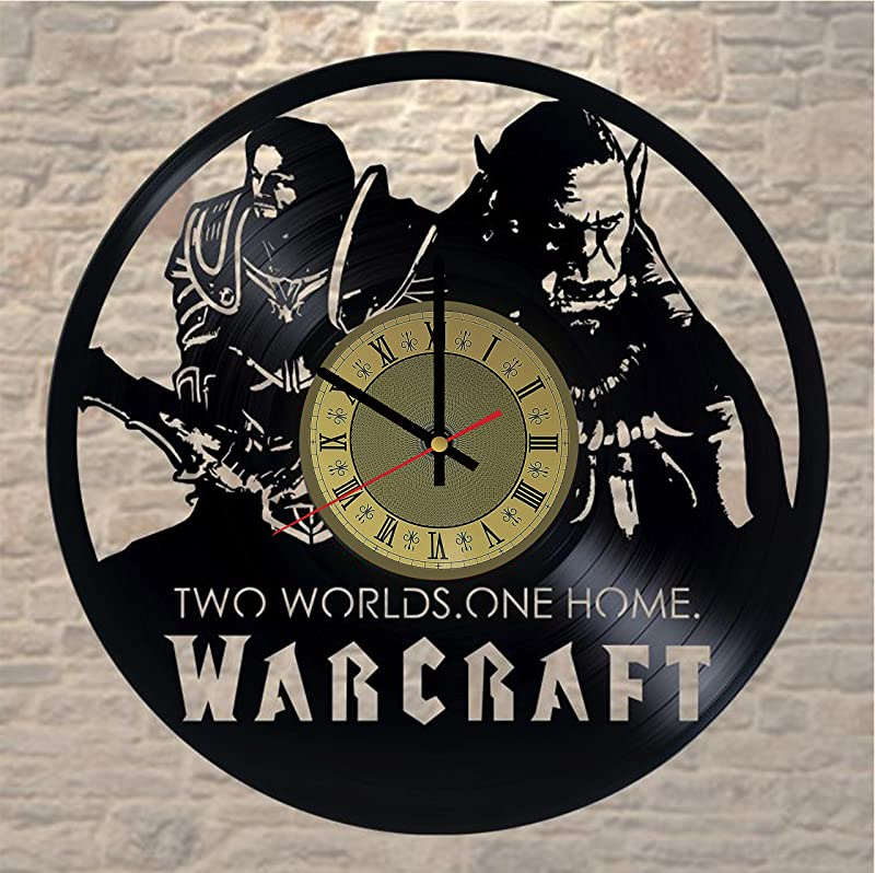 Pieceful Warcraft Vinyl Record Wall Clock Artwork Gift Idea For Birthday Christmas Women Men Friends Girlfriend Boyfriend And Teens Living Kids Room Nursery Gold Black