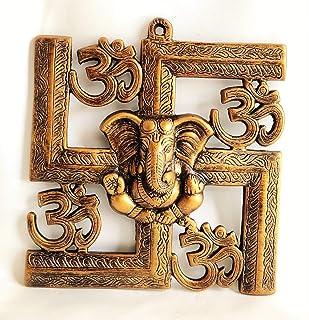 Akriti Brass Metal Lord Ganesha Swastik LR, Ganesh Wall Hanging for Entrance Door, Living Room, Decorative Wall décor; Met...