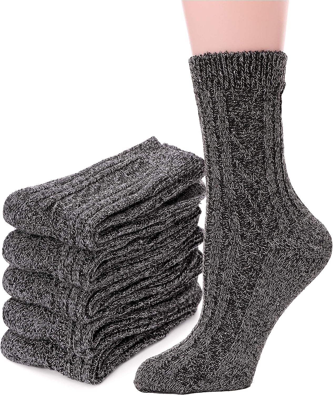 Womens Wool Socks 5 Pairs Boot Warm Crew Heavy Comfy Cold Socks Winter Thermal Long Work Thick Soft Ladies Socks