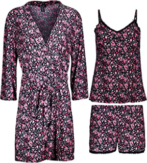 Women's 3-Piece Pajama Set - Shorts, Cami and Robe