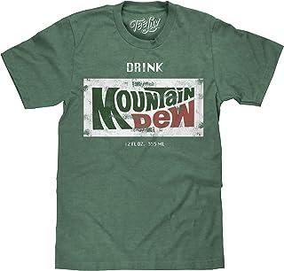 Tee Luv Retro Drink Mountain Dew Shirt - Distressed Mt Dew Logo T-Shirt