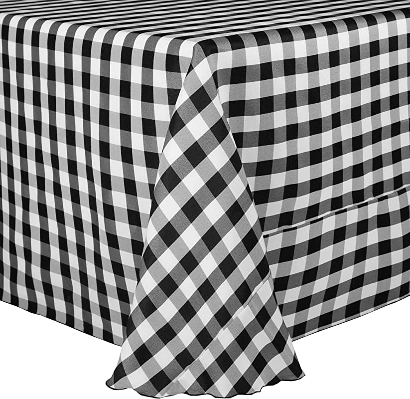 Ultimate Textile 2 Pack 90 X 90 Inch Square Polyester Gingham Checkered Tablecloth Black And White