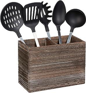 Relaxdays 10025561 Support à ustensiles de Cuisine, 2 Compartiments pour Les Accessoires & Couverts, 17x24x12 cm, Bois, Ma...