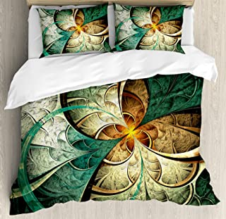 Ambesonne Fractal Duvet Cover Set King Size, Computer Art Featured Surreal Flowers Dreamy Imaginary Creative Concept, Decorative 3 Piece Bedding Set with 2 Pillow Shams, Jade Green
