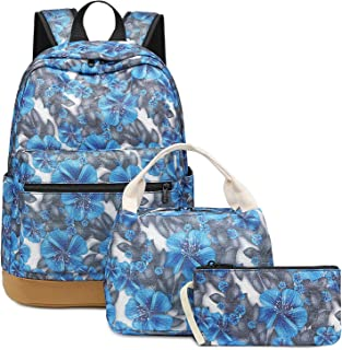 Teens Backpack School Bookbag Set Grils Kids Schoolbag with Insulation Lunch Bag (Floral - Blue T017)