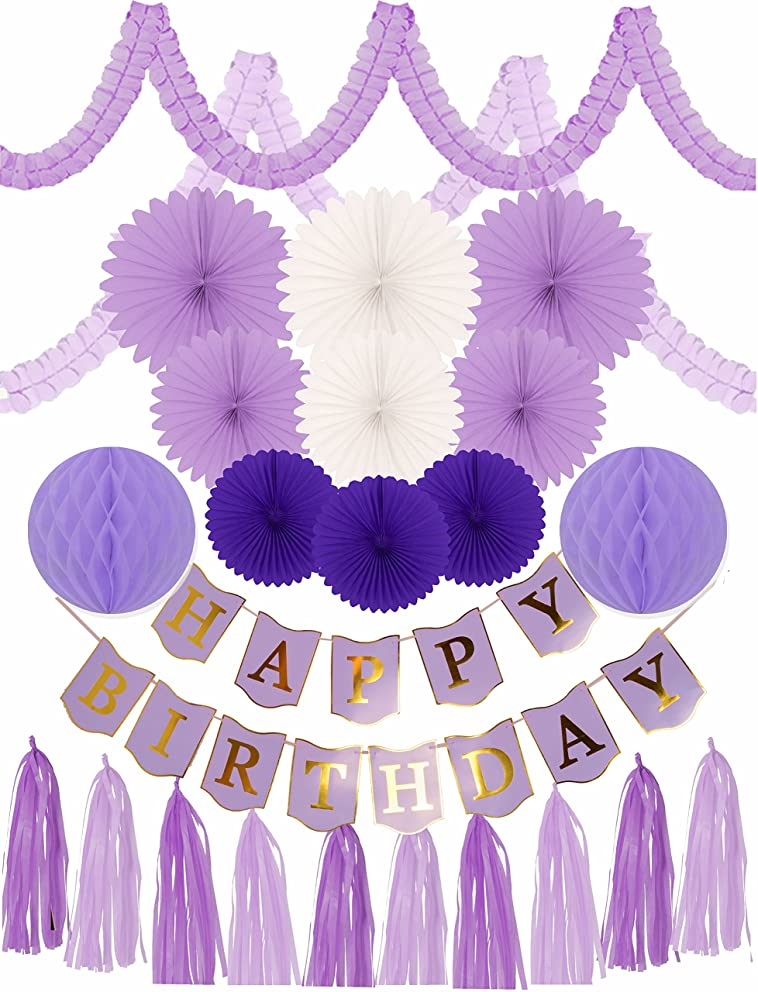 MEANT2TOBE Purple Birthday Decoration Set for Girl, Purple Birthday Decoration Set, 24 PC - Party Decorations and Supplies - Purple Happy Birthday Banner (Happy Birthday Decoration)