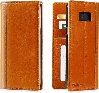 Galaxy S8 Plus Flip Case - iPulse Journal Series Italian Full Grain Leather Handmade Wallet Case For Samsung Galaxy S8+ - [Built-in Stand] [Card Slots Holder] - Cognac
