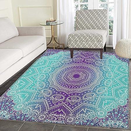 Purple And Turquoise Area Rug Carpet Hippie Ombre Mandala Inner Peace And Meditation With Ornamental Art Living Dining Room Bedroom Hallway Office Carpet 3 X4 Purple Aqua Furniture Decor