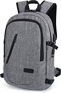 Anti-theft Premium Business Laptop Backpack Waterproof Oxford Laptop Bag suit for 15.6 inch Notebook Travel College Bag w/USB Charger port and Headphone jack (Grey) - TG_01