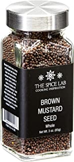 The Spice Lab Brown Mustard Seeds - Natural Whole Mustard Seeds for Pickling, Curry & Salad Dressings - 3 oz French Jar - ...