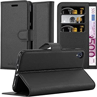 Cadorabo Book Case Works with Asus ZenFone Live / 3 GO in Oxid Black – with Magnetic Closure, Stand Function and Card Slot – Wallet Etui Cover Pouch PU Leather Flip
