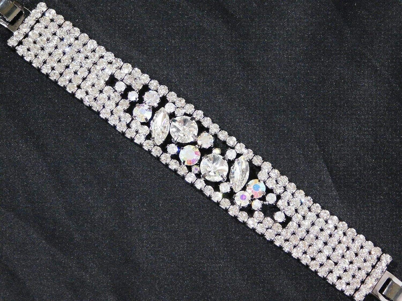 Ranking TOP16 Stunning Clear Rhinestone Hematite Fashion Cuff Max 81% OFF Jewelry Bracelet