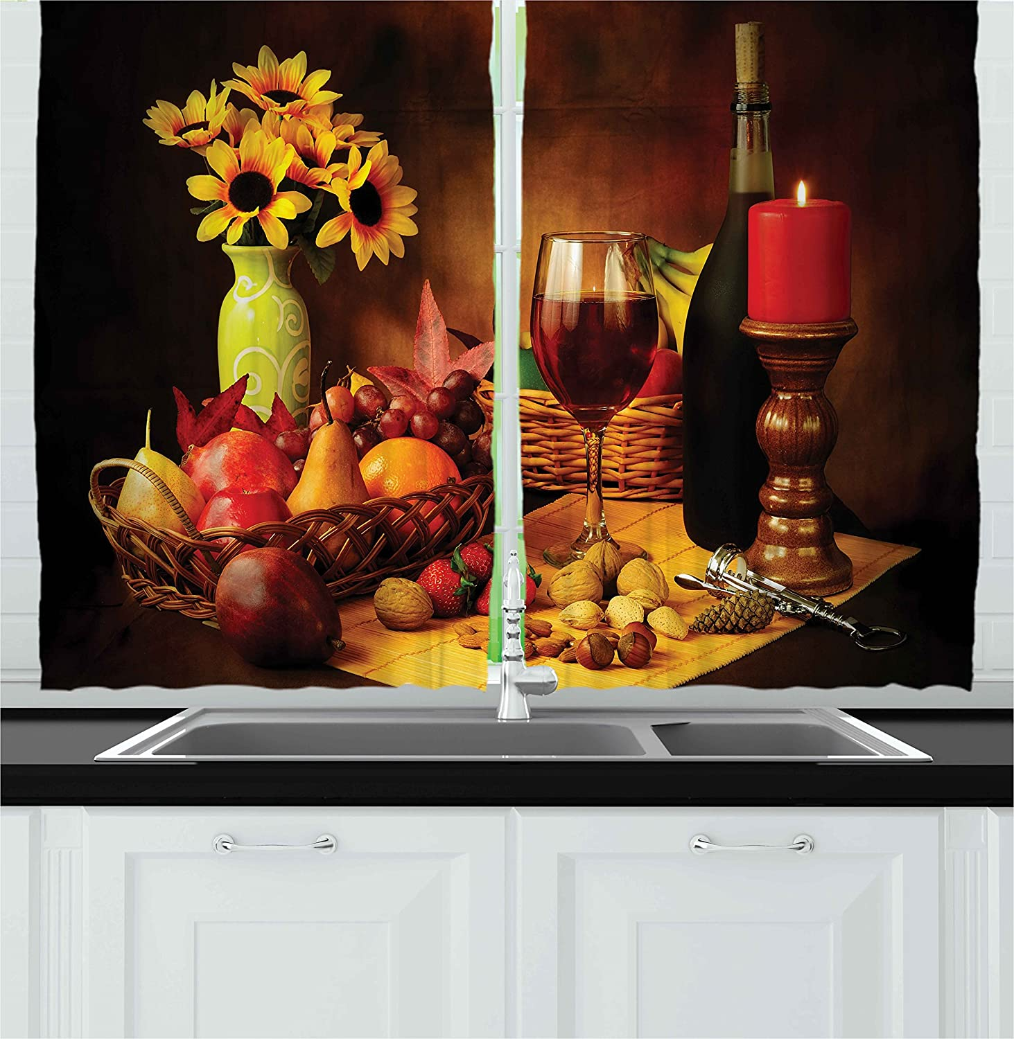 Ambesonne Winery Kitchen Curtains Still Wine Limited price sale Life Popular standard Red Image of