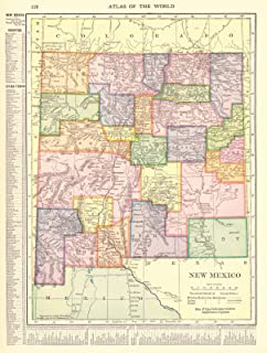 Vintage Map - 1910 New Mexico - Historic Poster Art Reproduction - 33in x 44in