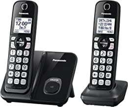 Panasonic Expandable Cordless Phone System with Call Block and High Contrast Displays and Keypads - 2 Cordless Handsets - KX-TGD512B (Black)