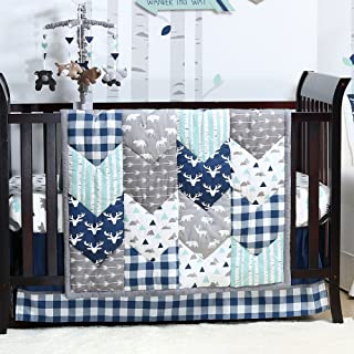 Woodland Trail 4 Piece Forest Animal Theme Patchwork Baby Boy Crib Bedding Set - Navy Blue Plaid