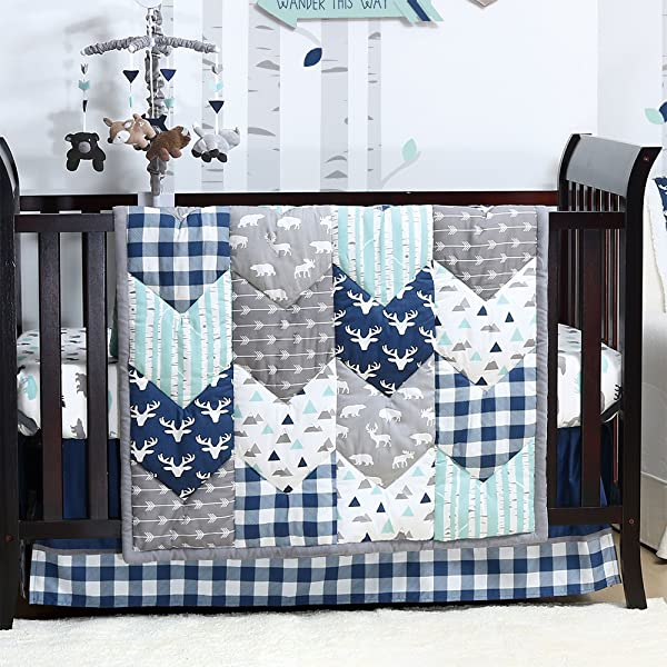 Woodland Trail 5 Piece Forest Animal Theme Patchwork Baby Boy Crib Bedding Set Navy Blue Plaid