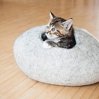LucyBalu Kitten CAVE - Cuccia in feltro per gattini, effetto ciottoli, 38 x 38 x 18 cm, in feltro di lana naturale