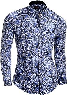 Men's Dress Shirt Casual Paisley Smart Long Sleeve Cotton Slim Fit