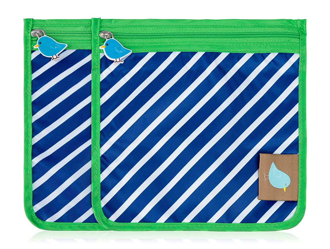 Jaq Jaq Bird Reusable Snack Pouch: Set of 2 (Navy Stripe) tmuif05910825099