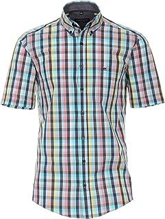 CASAMODA Camisa informal de manga corta para hombre, diseño a cuadros, ajuste informal