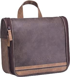 Hanging Toiletry Bag for Men VANCASE Vintage Leather Shaving Dopp Kit Medium Waterproof Travel Bathroom Bags Portable Shower Organizer