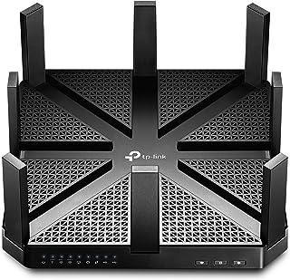 TP Link Archer C5400 AC5400 Triband Gigabit WLAN Router 2x 2167Mbit/s 5GHz 1000Mbit/s 2,4GHz, 4 Gigabit LAN Ports, 1 USB 2.0, 1 USB 3.0, MU MIMO, Print/Media/FTP/VPN Server, APP Steuerung, Schwarz