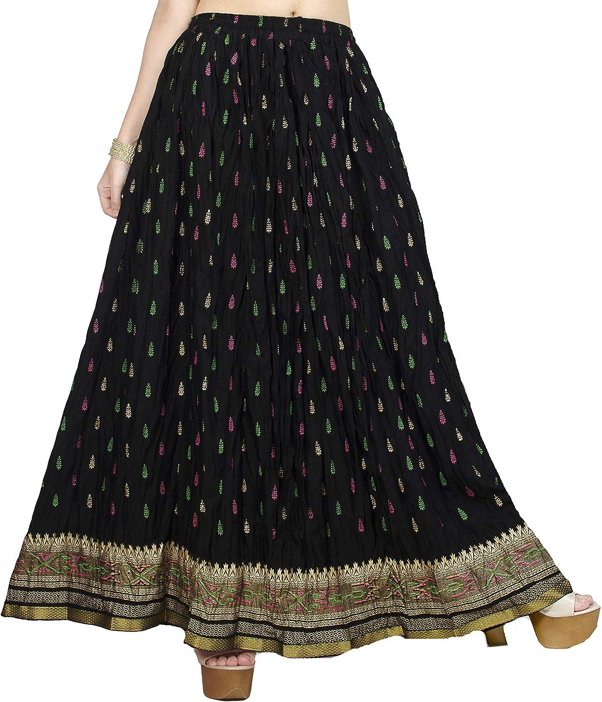 Chadrakala Women's Rayon Cotton Indian Crushed Flaire Long Maxi Skirt Gold Block Print,Free Size (S101)