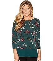 Ivanka Trump Matte Jersey Floral Georgette Hem Shirt