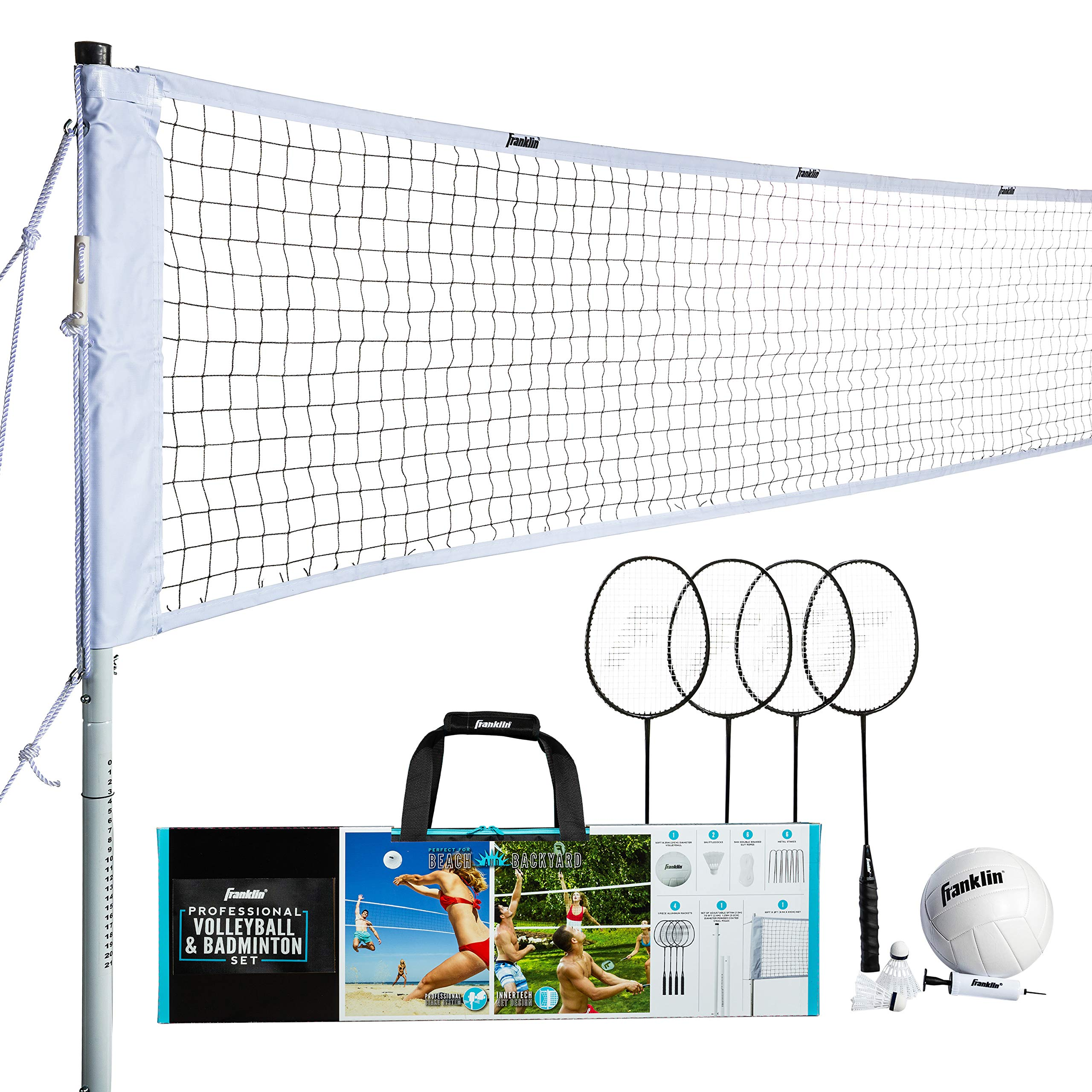 Franklin Sports Volleyball Badminton Combo Set Portable Backyard Volleyball Badminton Net Set Volleyball Rackets Birdie Included Pro Amazon Com Au Sports Fitness Outdoors