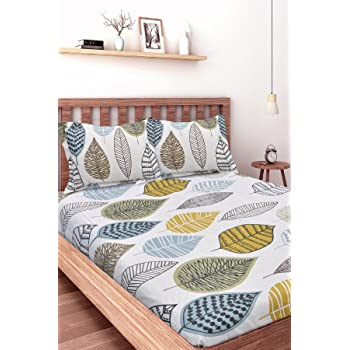 HUESLAND by Ahmedabad Cotton Comfort 144 TC Cotton Single Bedsheet with 1 Pillow Cover - Blue, Beige, Green