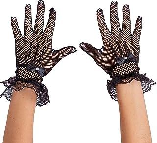 Skeleteen - Guantes de encaje para mujer, diseño clásico, color negro y transparente con lazo de satén y puños de encaje