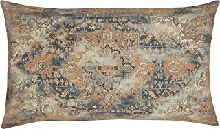 EURASIA DECOR DecorHouzz Antique Pillow case Old Persian Rug Vintage Patchwork Inspired Print Pillowcase for Sofa Couch Living Room Bedroom Rustic Cotton Linen Decorative Home (Orange, 16