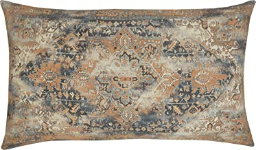 EURASIA DECOR DecorHouzz Antique Pillow case Old Persian Rug Vintage Patchwork Inspired Print Pillowcase for Sofa Couch Living Room Bedroom Rustic Cotton Linen Decorative Home (Orange, 16x26)