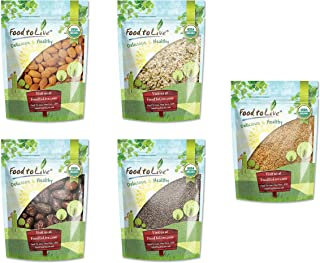 Organic Nuts, Seeds and Fruits in a Gift Box - A Variety Pack of Almonds, Chinese Hemp Seeds, Medjool Dates, Chia Seeds and Golden Flax Seeds