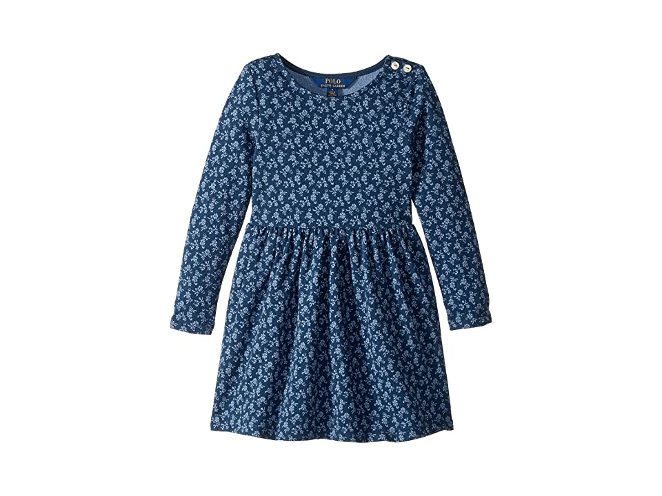 Polo Ralph Lauren Kids Floral French Terry Dress (Little Kids) (Blue/Cream Multi) Girl