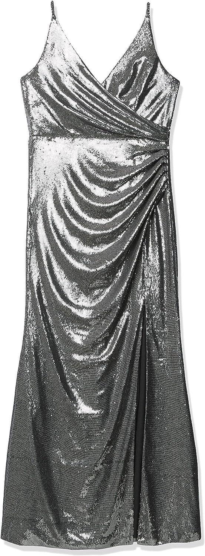 Dress the Population Women's Jordan Plunging Drape Front Sleeveless Long Gown with Slit, Gunmetal, M