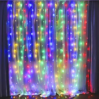 Fiee Fairy Curtain Lights,304 LED 9.8ftX9.8ft 30V 8Modes safety Window Lights with Memory for Home Wedding Christmas Party Family Patio Lawn Garden Bedroom Outdoor Indoor Wall Decorations(Multi Color)