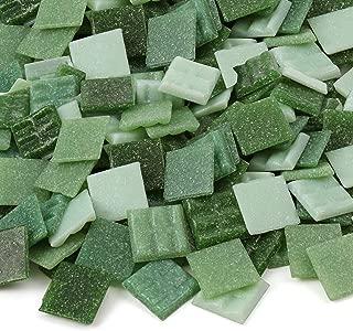 Milltown Merchants™ Green Mosaic Tiles - Bulk Mosaic Tile Assortment - 3/4 Inch (20mm) Mixed Colors Venetian Glass Tile - 1 Pound (16 oz) Craft and Backsplash Tile